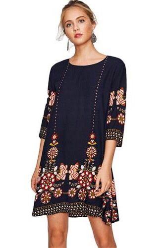 f644ddb8917e Black print Foley boho navy three quarter length sleeve a line casual dress  for mom this autumn. Simple classic cozy street outfits ideas.