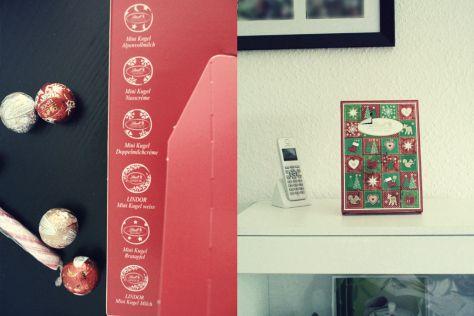Lindt Adventskalender – Frohes Fest Mini-Tisch-Kalender : 6 verschiedene Kugeln