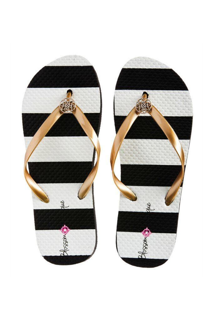 Classically Chic Metallic Flip Flops