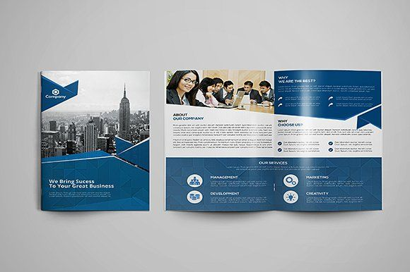 Corporate Bi-fold Brochure by GreenPixi on @creativemarket