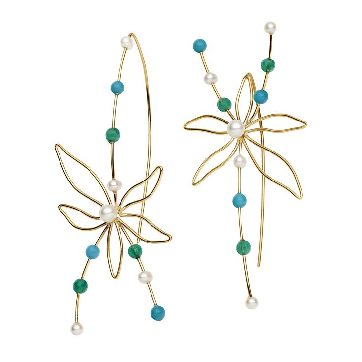 9CT PEARL, TURQUOISE & GREEN AGATE ORCHID EARRINGS