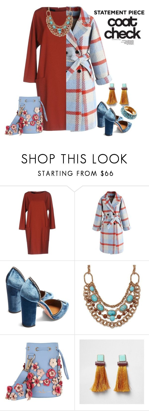 """""""Check Your Coat"""" by freida-adams ❤ liked on Polyvore featuring Blue Les Copains, Chicwish, Aquazzura, 1928, Marina Hoermanseder and Valentino"""