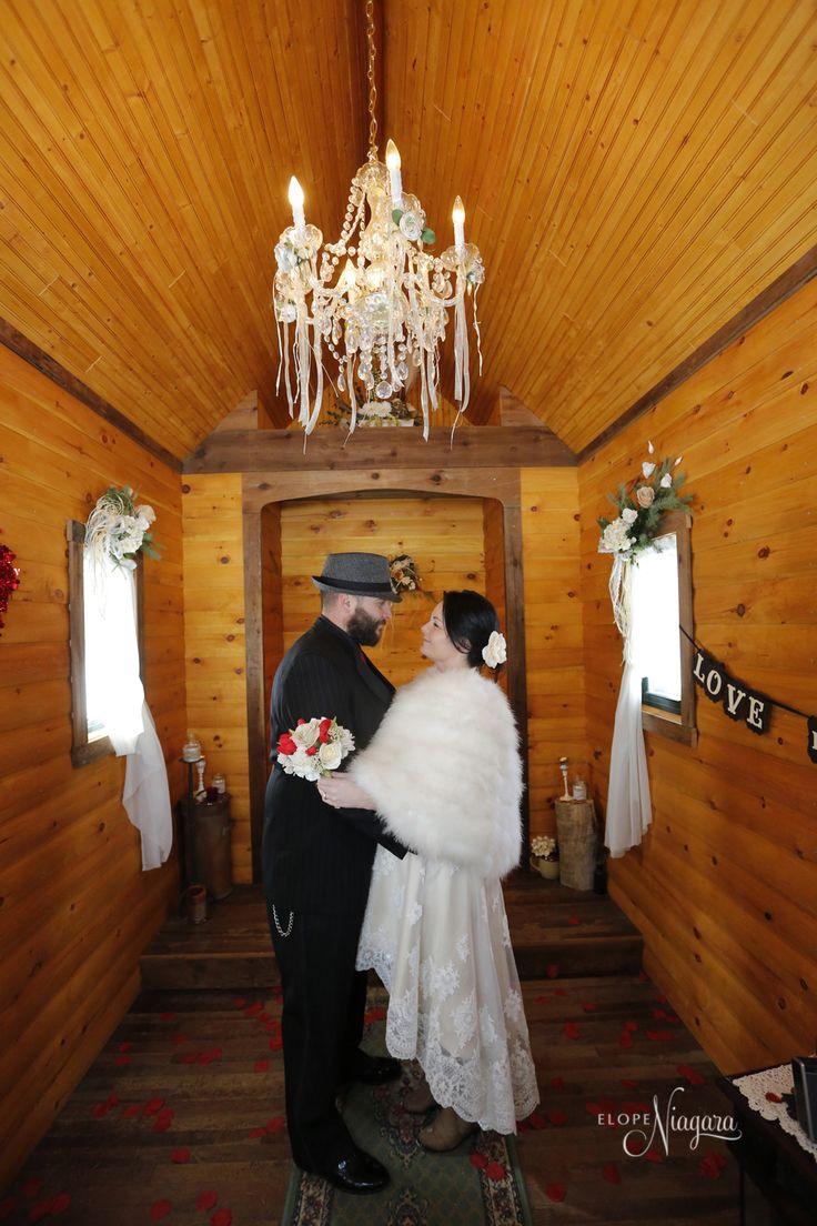 Inside Of The Little Log Wedding Chapel At Elope Niagara
