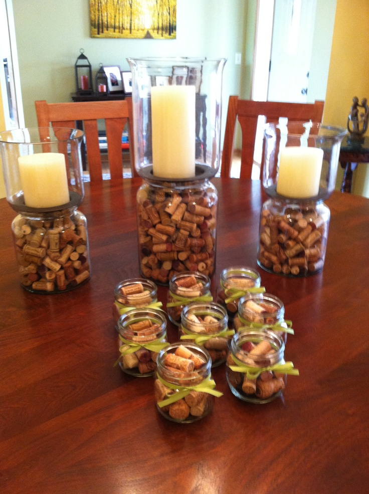 Wine Tasting Party Decorations Wine Corks Galore Added Tea Candles On Top Of The Small Jars