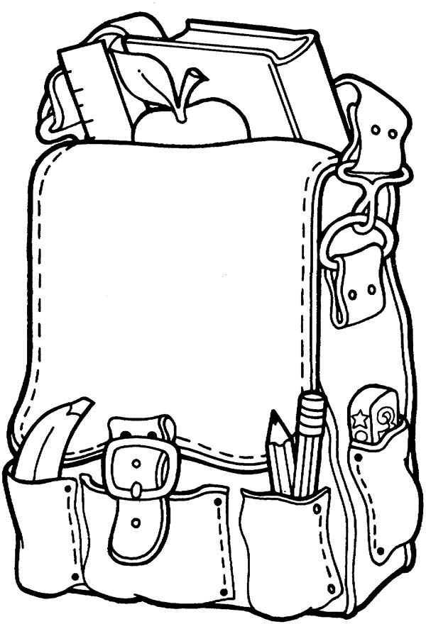 school bag free clip art coloring pages