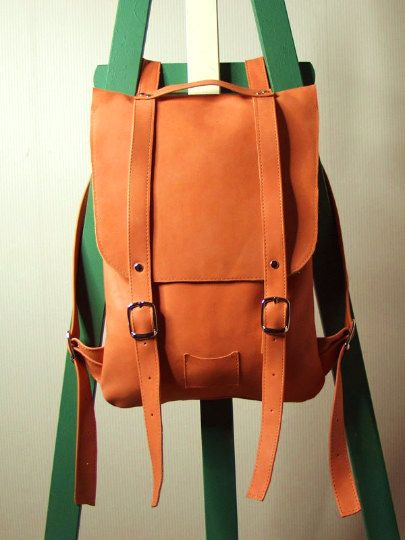 Orange small leather backpack rucksack / To order / by kokosina