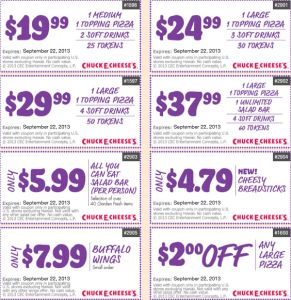 Chuck E Cheese Coupons December and November 2017 Printable