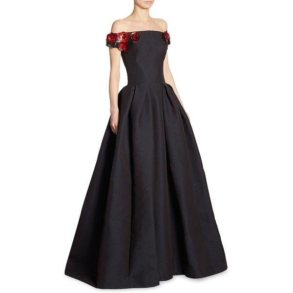 Zac Posen Off-The-Shoulder Floral Gown ($6,990) ❤ liked on Polyvore featuring dresses, gowns, off shoulder dress, floral applique gown, off the shoulder ball gown, floral dresses and off the shoulder floral dress