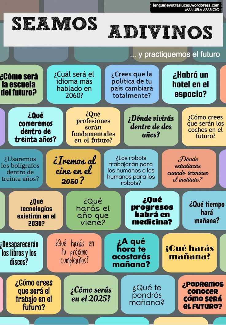 actividad ejercicio para practicar el futuro. ELE ✿ Spanish Learning/ Teaching Spanish / Spanish Language / Spanish vocabulary / Spoken Spanish / More fun Spanish Resources at espanolautomatico... ✿ Share it with people who are serious about learning Spanish!