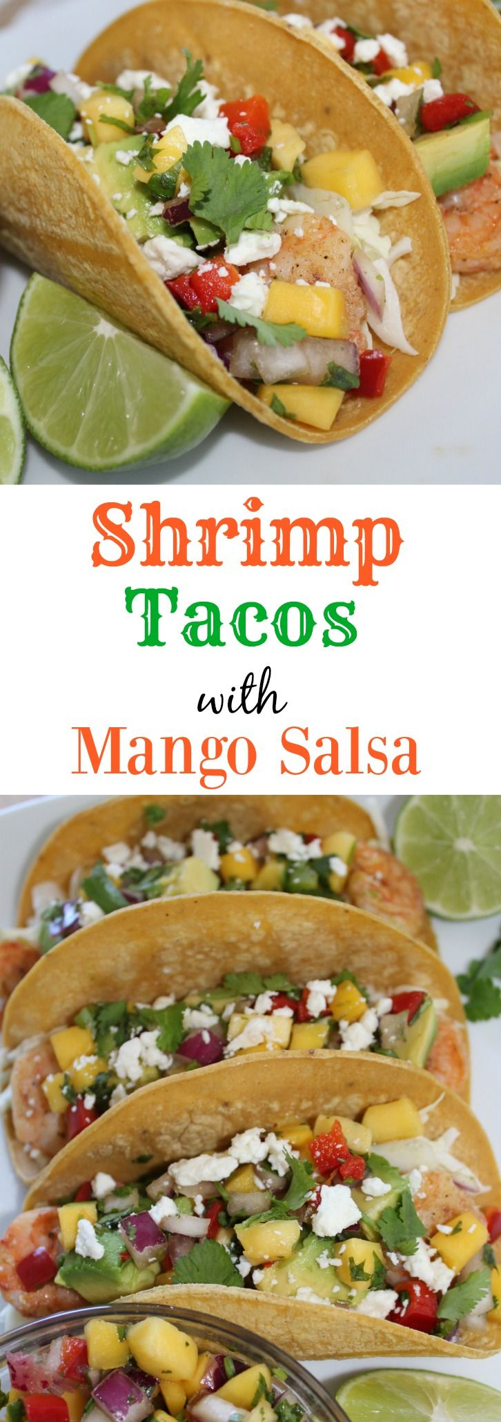These simple Marinated Shrimp Tacos with Mango Salsa are a lighter take on a typical fish taco. Spiced shrimp loaded with shredded cabbage, avocado, fresh mango salsa and feta cheese. This is a delicious fresh and light meal for a lunch or dinner idea. I add a little hot sauce to make it extra spicy!