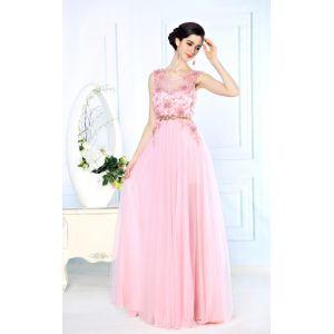 Розовое выпускное платье 2015 с цветами