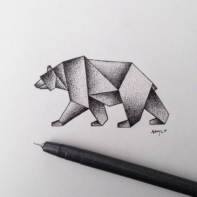 Geometric stipple bear. #illustration