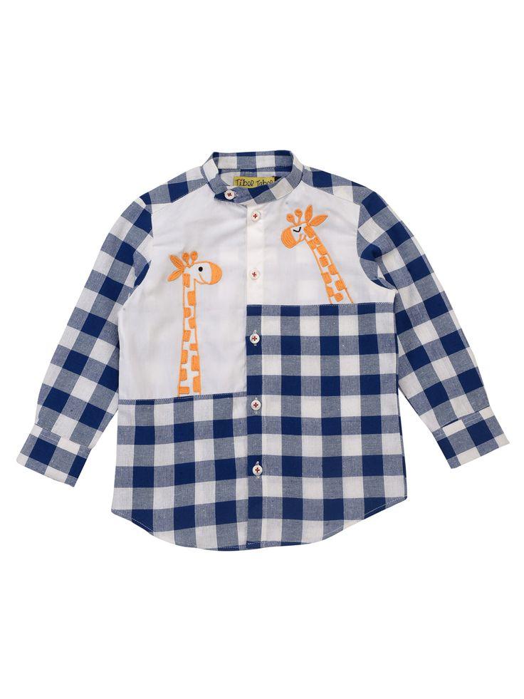 Buy Giraffe Checks Blue Shirt  kidswear. kids. fashion kids. children clothes. Tiber Taber. kids style