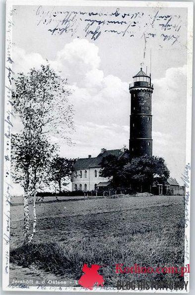 Pocztówka z 1935 roku, Jershöft a. d. Ostsee Leuchtturm.  Wydawnictwo: Max Zuchlke , Lindenhotel, Ostseebad Jershöft