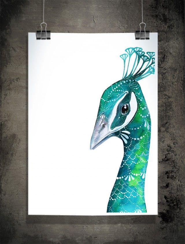 Penelope, beautiful peacock by Sofie Rolfsdotter! #nordicdesigncollective #penelope #peacock #sofierolfsdotter #blue #green #turquoise #illustration #watercolor #akvarell #poster #bird #birds #print #illustration #frame #posterwall #interiordesign #homedecor #dot #dots