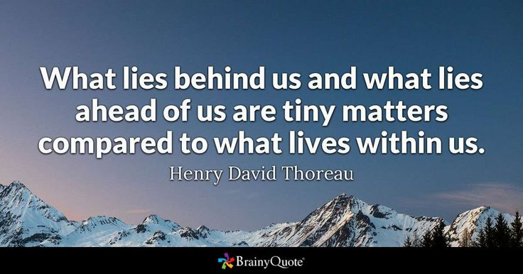 What lies behind us and what lies ahead of us are tiny matters compared to what lives within us. - Henry David Thoreau