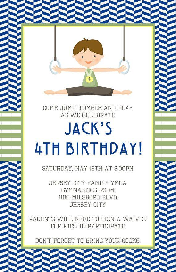 Gymnastics Invitation by LittleLawsPrints on Etsy, $25.95 boy, gymnastics, gym, birthday, party, invitation