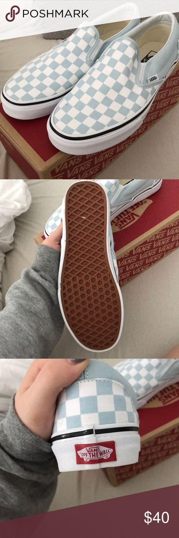 NWOT Baby Blue Vans never worn baby blue checkered slip on vans! i have the sticker still and box, just not attached! Vans Shoes Sneakers