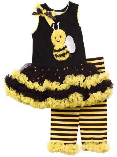 Girls Rare Editions Bumble Bee Tutu Dress Set 5 (E361043)  $37.99