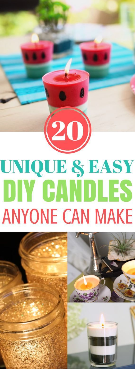 Easy Candles To Make - 20 amazing diy candles that you can make that easy and super unique. They're also easy candles to make and sell. Absolutely lovely!
