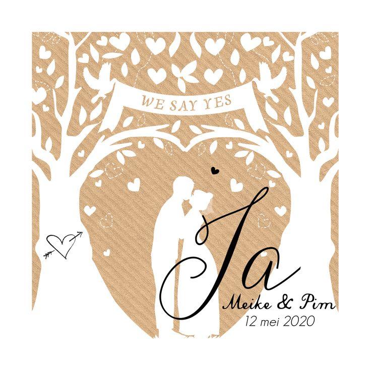 Romantische trouwkaart met silhouetje van het bruidspaar met WE SAY YES banner op kraft.