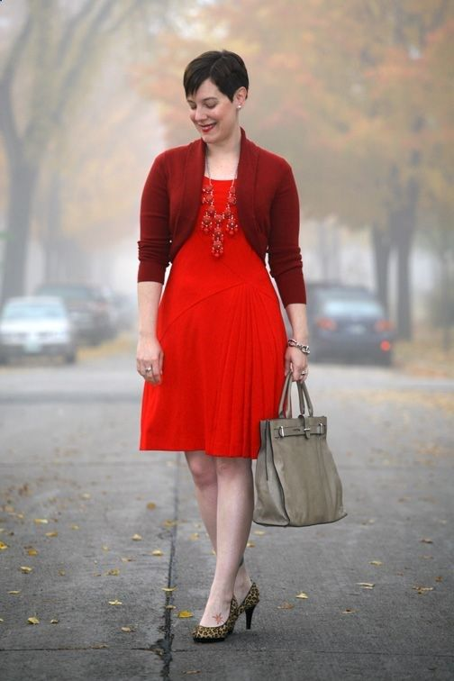 Already Pretty outfit featuring rust shrug, red Calvin Klein dress, red bubble necklace, leopard print pumps, Furla handbag