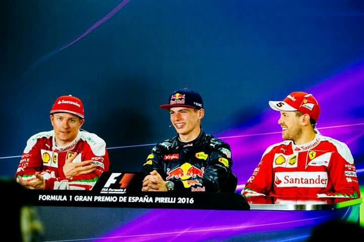 Spain 2016: Kimi, Max and Seb have a laugh.