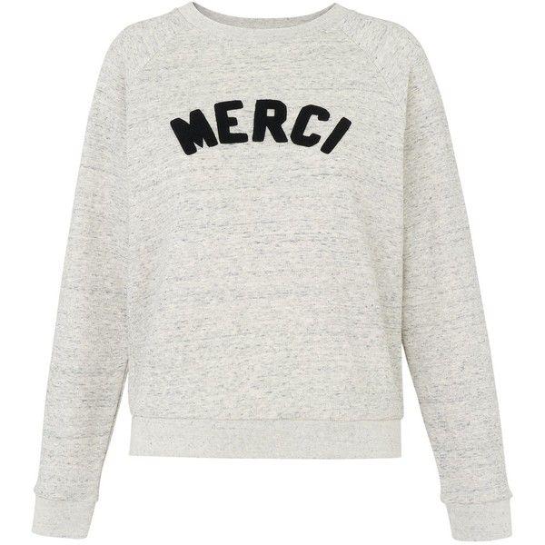 Whistles Merci Embroidered Sweatshirt, Grey Marl ($92) ❤ liked on Polyvore featuring tops, hoodies, sweatshirts, snug top, raglan top, patterned tops, long tops and embroidered sweatshirts