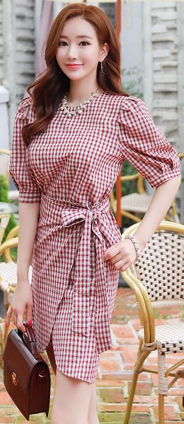 StyleOnme_Gingham Print Ribbon Waist Tie Wrap Style Dress #cute #gingham #ribbon #koreanfashion #kstyle #kfashion #seoul #dailylook