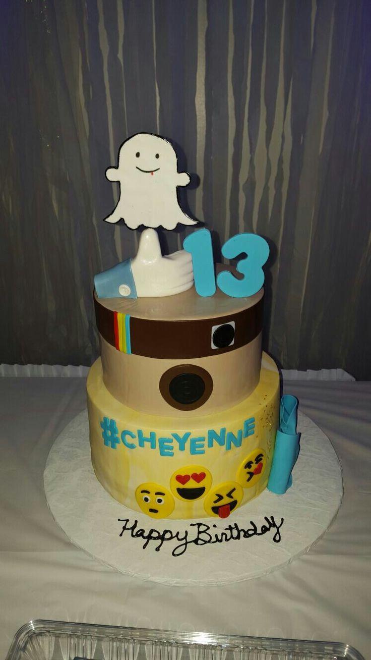 Social media cake; Facebook, likes, snap chat, Instagram, emoji, 13th birthday