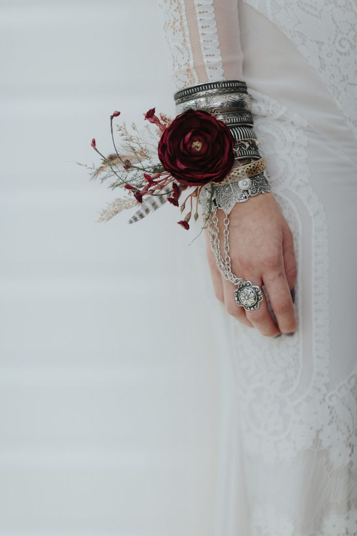 boho bride with gypsy jewels and wrist corsage