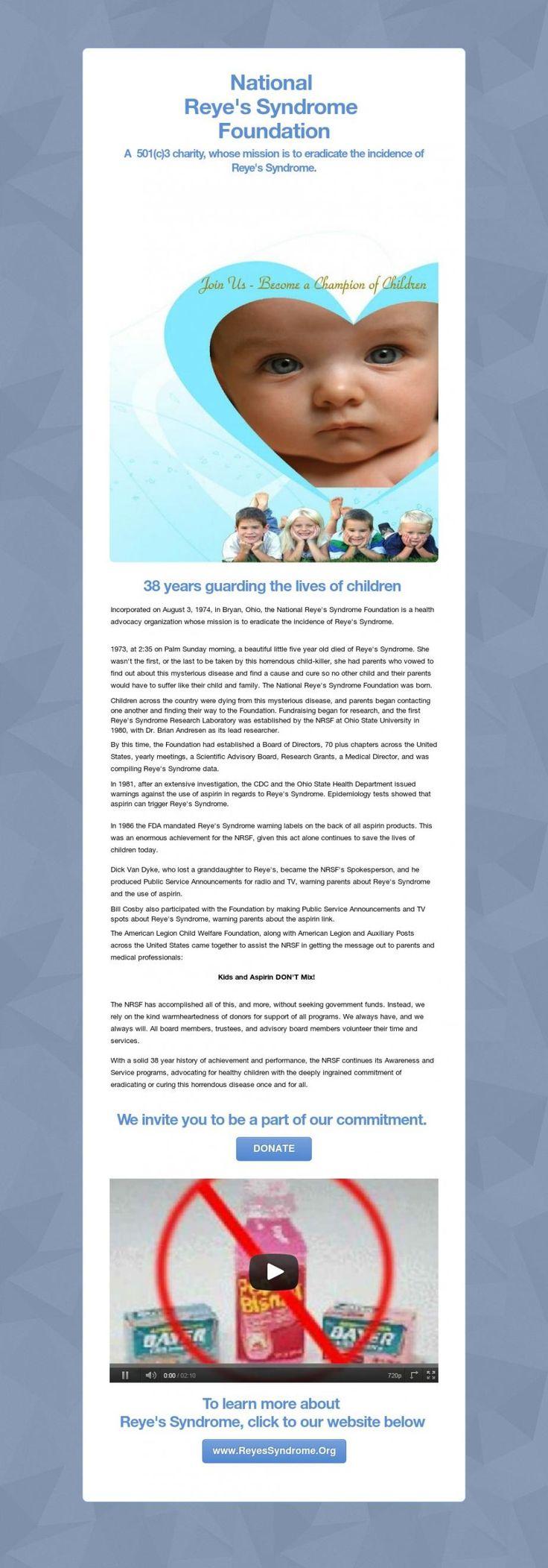 National  Reye's Syndrome  Foundation on Tackk.com