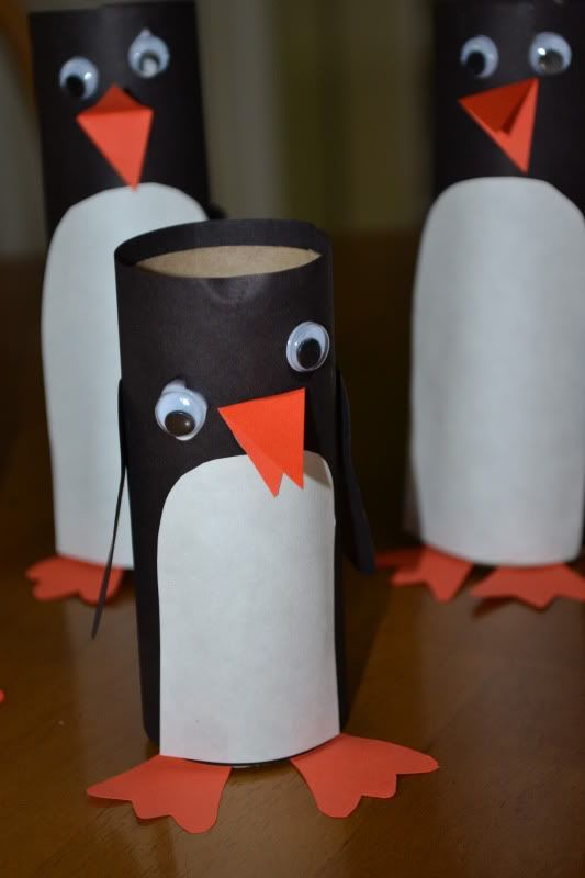 "These cardboard tube penguins would be nice to make when reading 'Cuddly Dudley' ("",)"