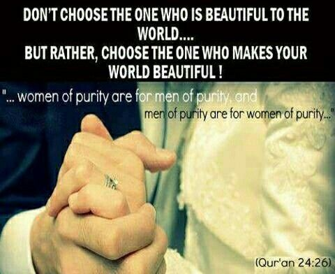 Love this ayaah. Women of purity are for men of purity. And men of purity are for women of purity.