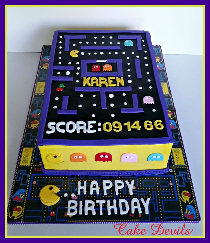 Pacman birthday cake perfect for an 80's party! Custom cake toppers available nationwide!