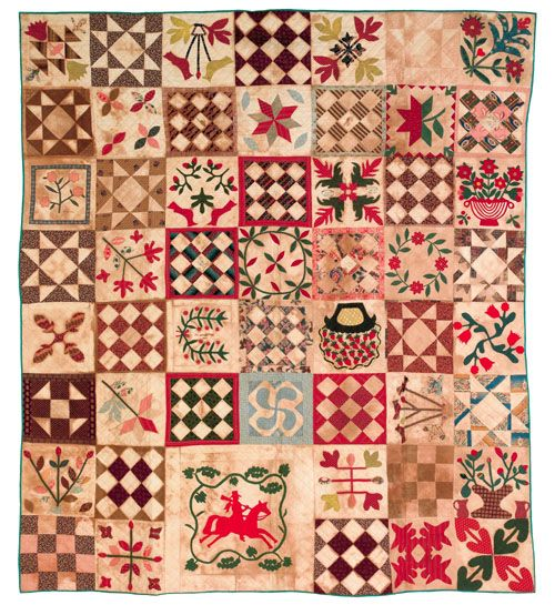 Hollingsworth Family Baltimore Album Quilt. This quilt, 1884-1846, consists of 53 appliqué and patchwork blocks and contains 14 signatures of prominent northern Maryland families. The quilt measures 79 inches by 88 inches and has an estimate of 7,000 to 9,000 dollars