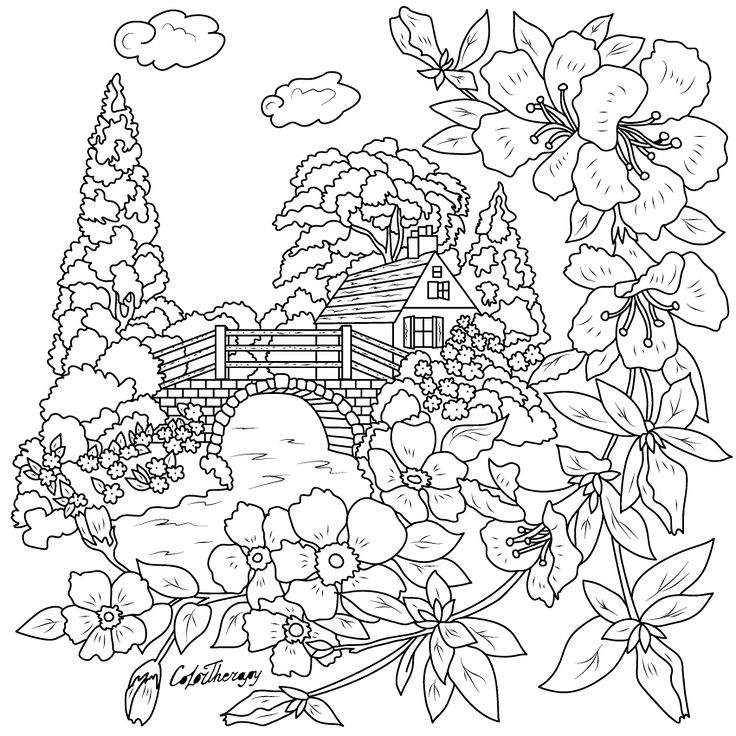 Vintage Card House To Color With Therapy Apple