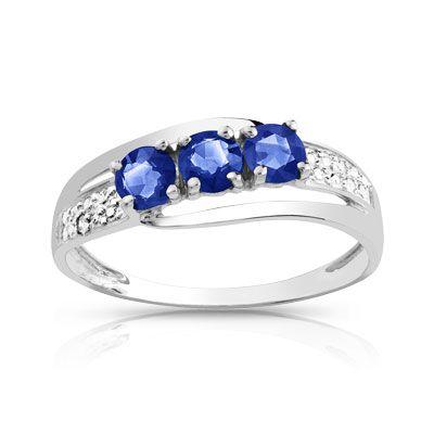 Bague or 750 blanc saphir et diamant ❤️ Merci mon chéri ❤️