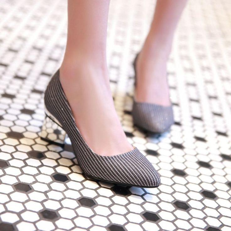Striped Women Pumps High Heels Square Heel Shoes Woman