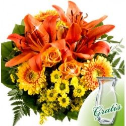 Wonderful Flower Bouquet With 1 Red Lily 2 Orange Roses Marie Clarie