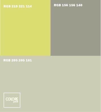 Abbinamento colori grigio giallo verde grigio medio