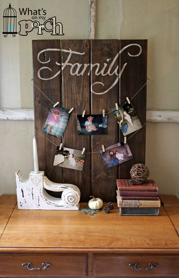 Large Wood FAMILY sign w/clothesline - hand painted, pallet, vintage, free shipping