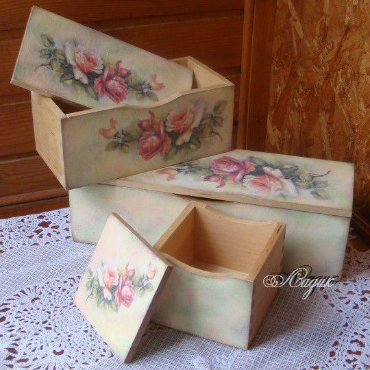 """Купить Набор шкатулок """"Розовый блюз"""" - набор шкатулок, для хранения, украшение интерьера, для декора"""
