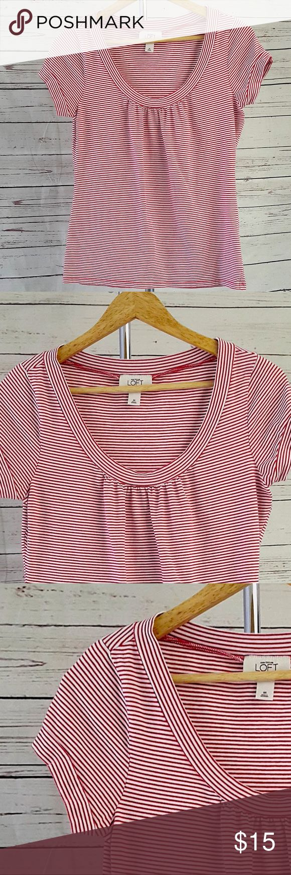 """Ann Taylor LOFT red white striped short sleeve top Ann Taylor LOFT red and white striped short sleeve top with scoop neck. Neck has small pleats in front. Sleeves have faux cuffs. Excellent pre-owned condition with no stains or tears.  Size M  Measurements are approximate and taken laying flat: armpit to armpit: 18 1/4"""" shoulder to hem: 24""""  B14 Ann Taylor Tops Tees - Short Sleeve"""