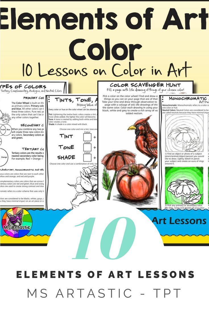 10 Lessons on Color Theory for your Middle School and High School students! Students will learn and apply the elements of art through a variety of instructional and informational lessons and worksheets! Teach the Elements of Art: Color to your Middle School or High School Class. Learn a variety of techniques and apply the elements to art projects or sketchbook work.