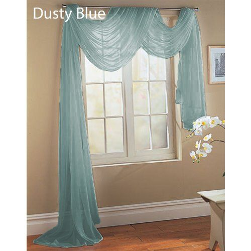 Sheer Dreams Fully Stitched Window Curtain Sheer Voile Scarf 55 X 216 Dusty Blue 1 Sheer