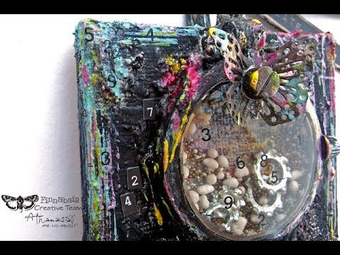Finnabair - Painting with Art Alchemy Acrylics - 'Lucky Number 13' canvas - YouTube