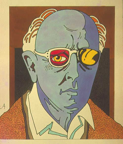 Illustration by John Alcorn, 1973, Sacharov. Andrei Sakharov (1921-1989) was a Russian nuclear physicist, Soviet dissident and human rights activist.