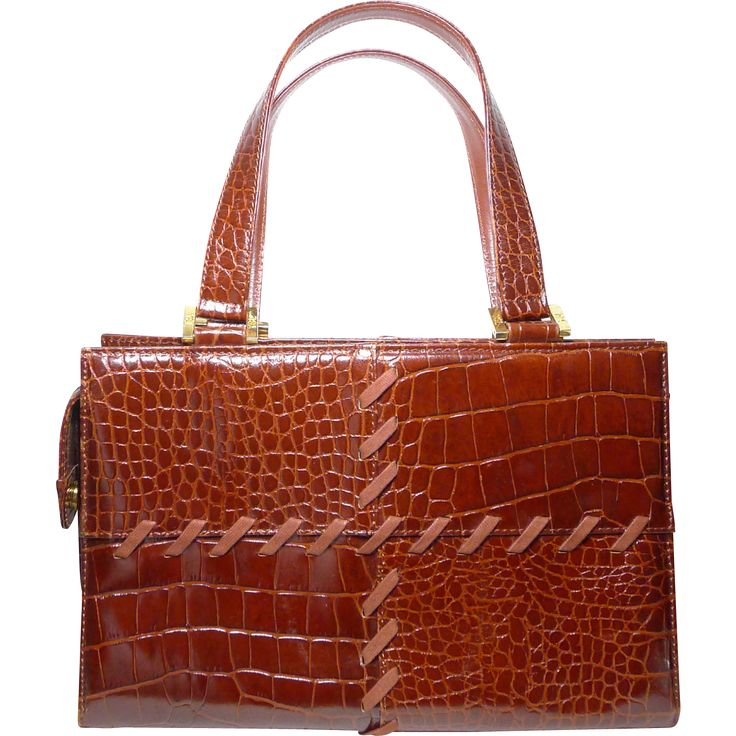 Authentic Yves St Laurent YSL Vintage Chestnut Brown Croc Embossed ...