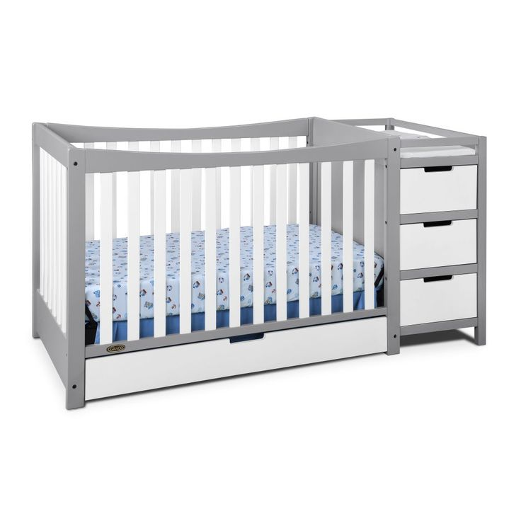 Graco Remi 4-in-1 Convertible Crib and Changer, Pebble Gray/White. Crib converts to a toddler bed, day bed and a full size bed (with the separate purchase of full size bed rails); toddler rail is not included. 3-position adjustable mattress base to accommodate your growing child. Store all your baby's belongings in the drawer underneath the crib and the changing table's 3 spacious drawers and 2 open shelves. Jpma certified and meets all cpsc and astm safety standards; 1 year limited...